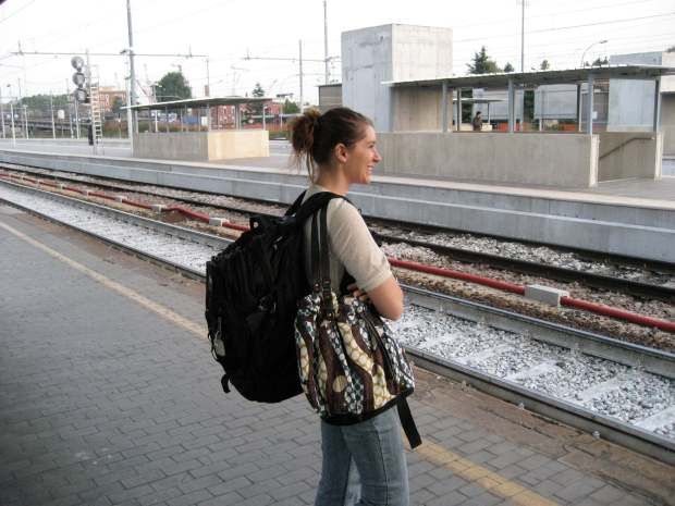 Waiting for a train at Bassano del Grappa Italy