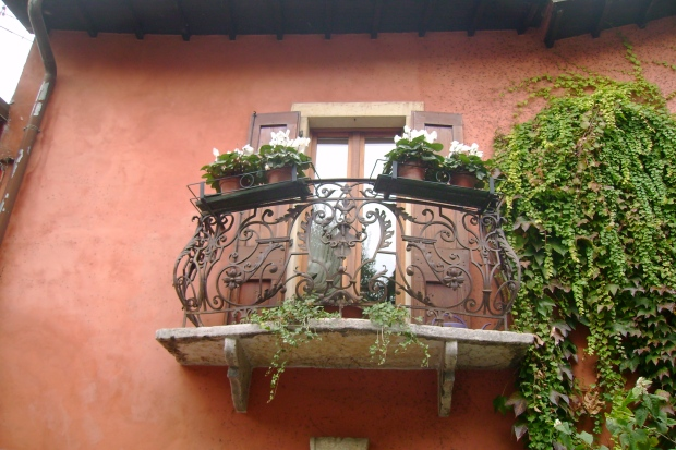 Balcony on the Scalone San Pietro, Verona, Veneto, Italy. Photo by Jill Kimball