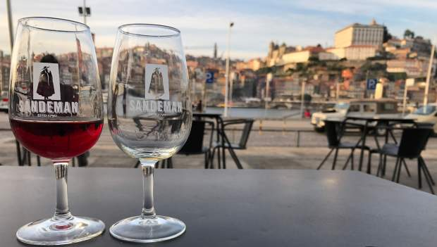 Port glasses at Sandeman in Porto's Ribeira district