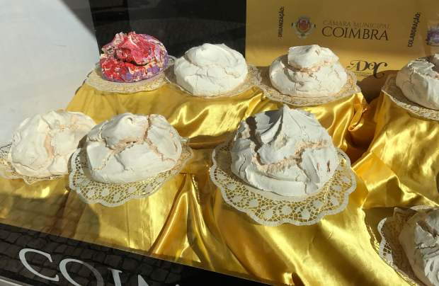 Giant meringues in a pasteleria in Coimbra, Portugal
