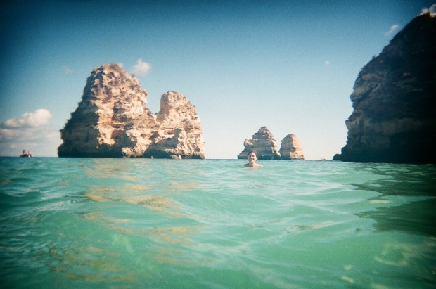 Swimming at Praia do Camilo in Lagos, Portugal