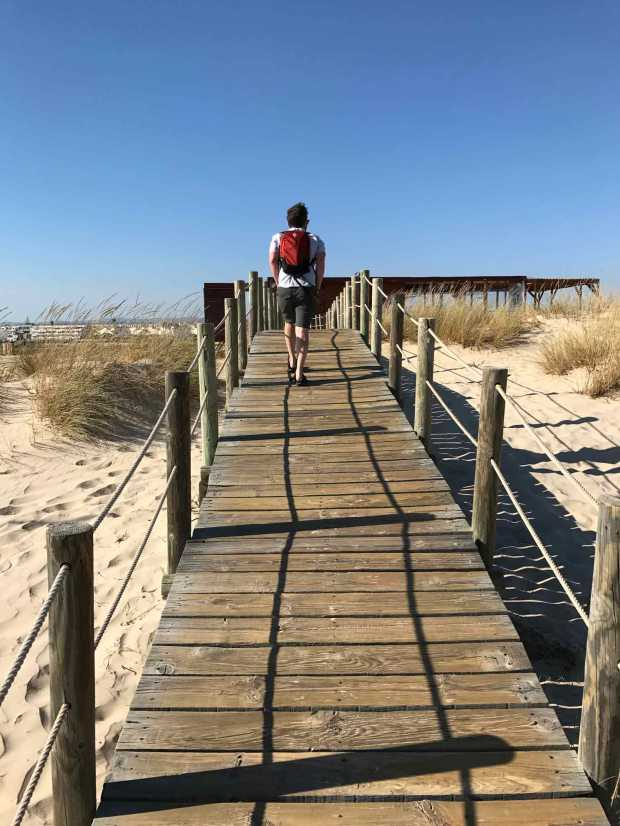 Elevated walkway to the beach from Cabanas town, Algarve, Portugal. Photo by Jill Kimball