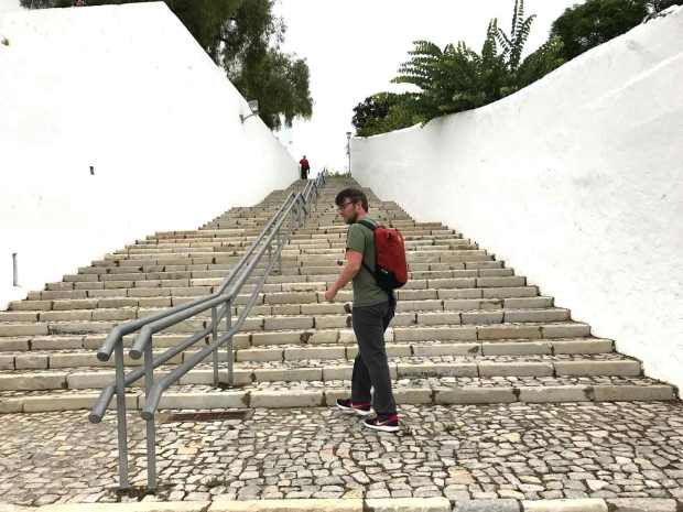 Stairs to the castle in Tavira, Algarve, Portugal. Photo by Jill Kimball.