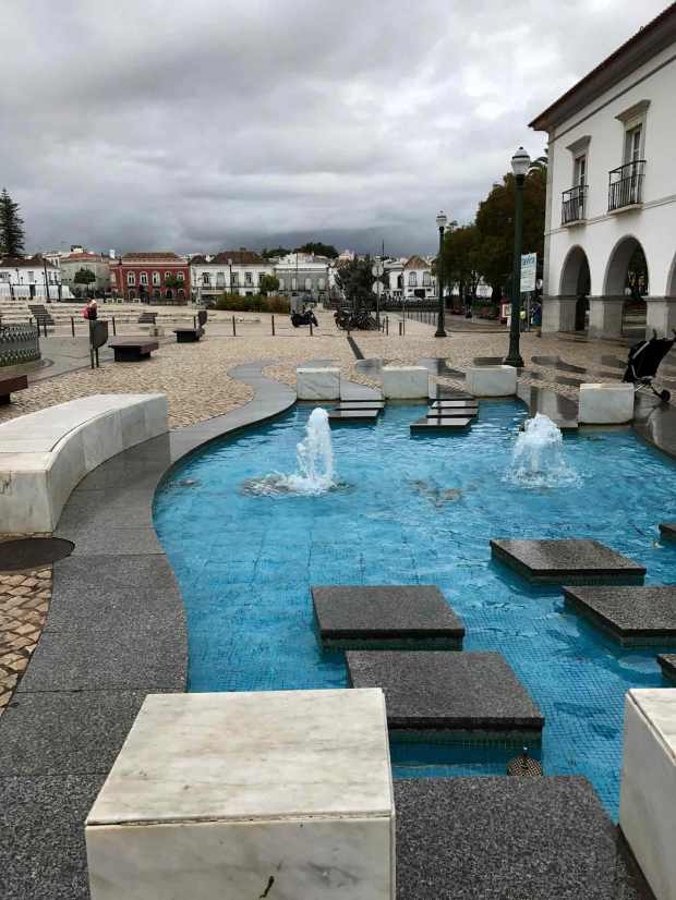 Fountain at Praca da Liberdade in Tavira, Algarve, Portugal. Photo by Jill Kimball