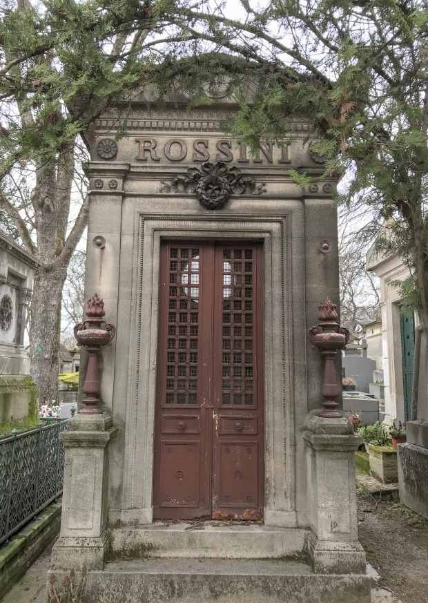 Rossini's grave at Pere Lachaise cemetery in Paris, photo by Jill Kimball