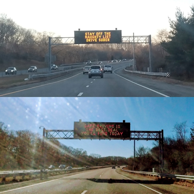 Signs on I-95 in Rhode Island